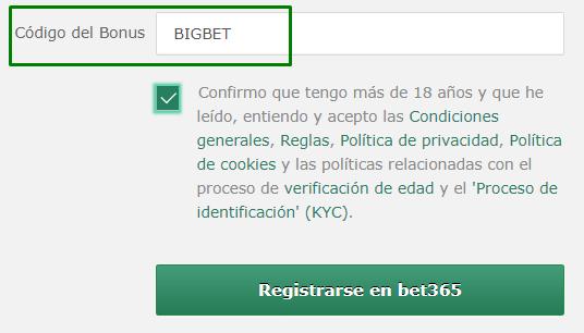 codigo bonus bet365 mexico