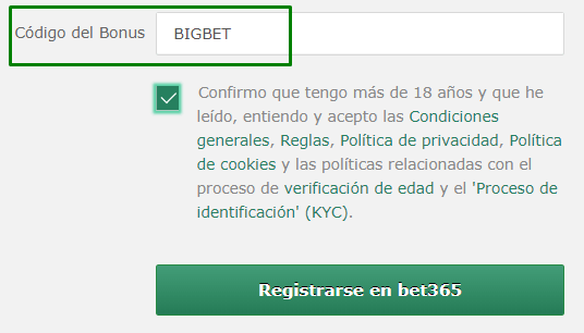 Código bonus bet365 México: copia