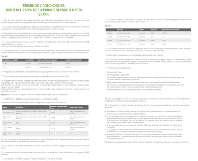 Términos y condiciones del Código Promocional Codere